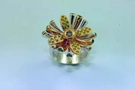 SUNBURST FLOWER Champagne, Yellow, and Green Diamonds,14k Yellow Gold, and Sterling Silver Ring