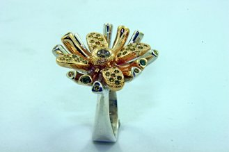 SUNBURST FLOWER Champagne, Yellow, and Green Diamonds,14k Yellow Gold, and Sterling Silver Ring2