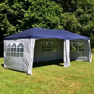 Nexos GM36077 PE-Pavillon Partyzelt mit 4 Seitenteilen und 2 Eingängen für Garten Terrasse Feier oder Fest als Unterstand Plane 110g/m² wasserdicht 3 x 6 m blau Nexos