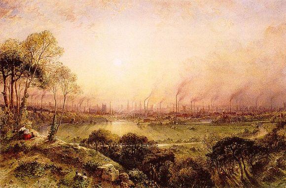 Prikaz Mančestera sa brda Kersal Moor, ujeku ere industrijalizacije