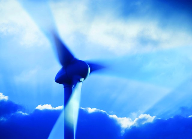 Wind turbine turning on a stormy day