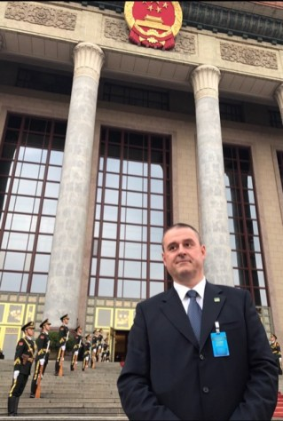Mr. Pavle Basic 帕夫莱·巴西期 in the front of the Great Hall of the People in Beijing.