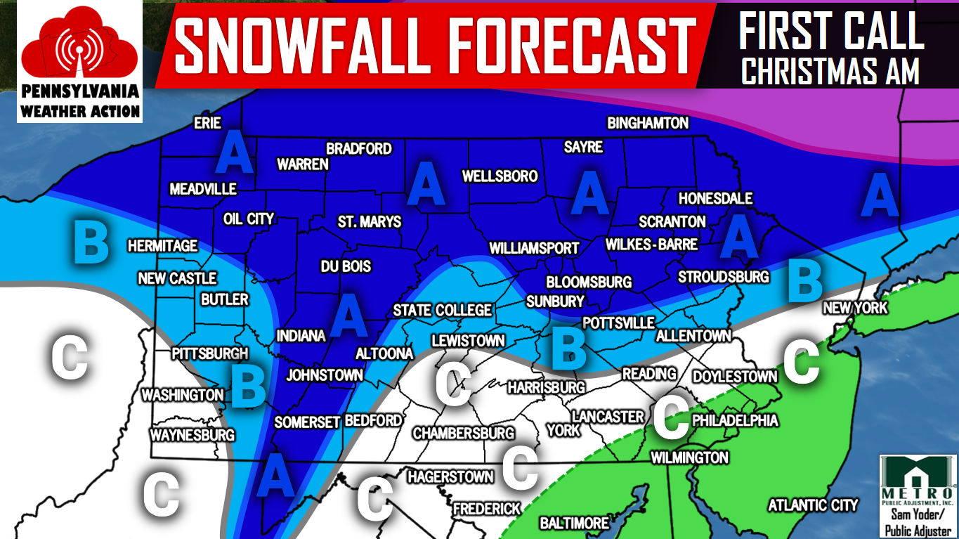 White Christmas Forecast.White Christmas Expected Across Much Of Pa Pa Weather Action