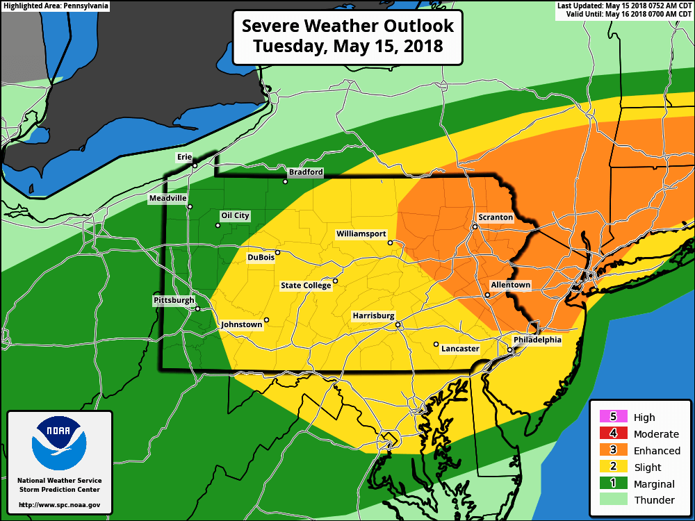 TODAY (5/15): Enhanced Risk for Severe Thunderstorms in Eastern PA ...