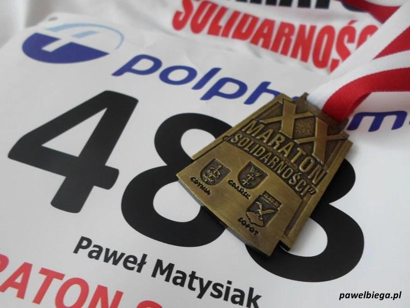 XX Maraton Solidarności - medal i numer