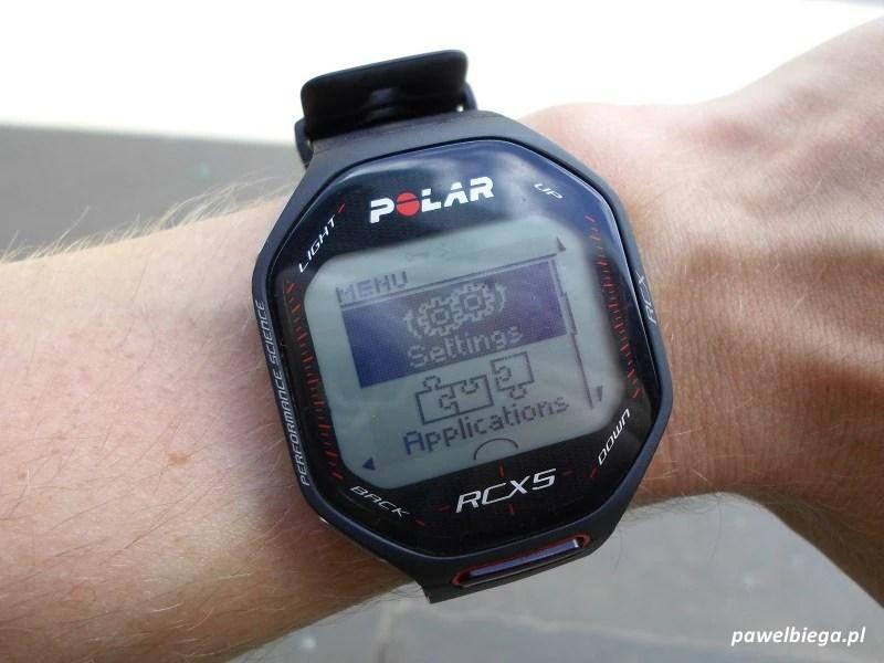 Polar RCX5 - menu