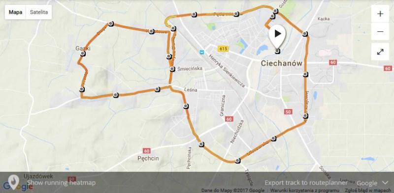 Półmaraton w Ciechanowie - trasa