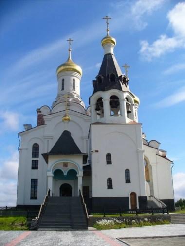 cerkiew w monczegorsku w rosji na półwyspie kolskim, za kołem podbiegunowym