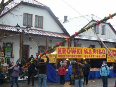 stawianie palmy na rynku w lipnicy murowanej w niedzielę palmową