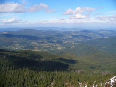 widok z babiej góry na północny zachód, widoczny jałowiec i beskid makowski