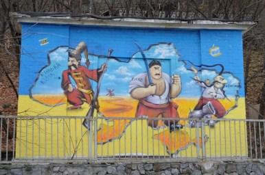 mural nad dnieprem w kijowie na ukrainie