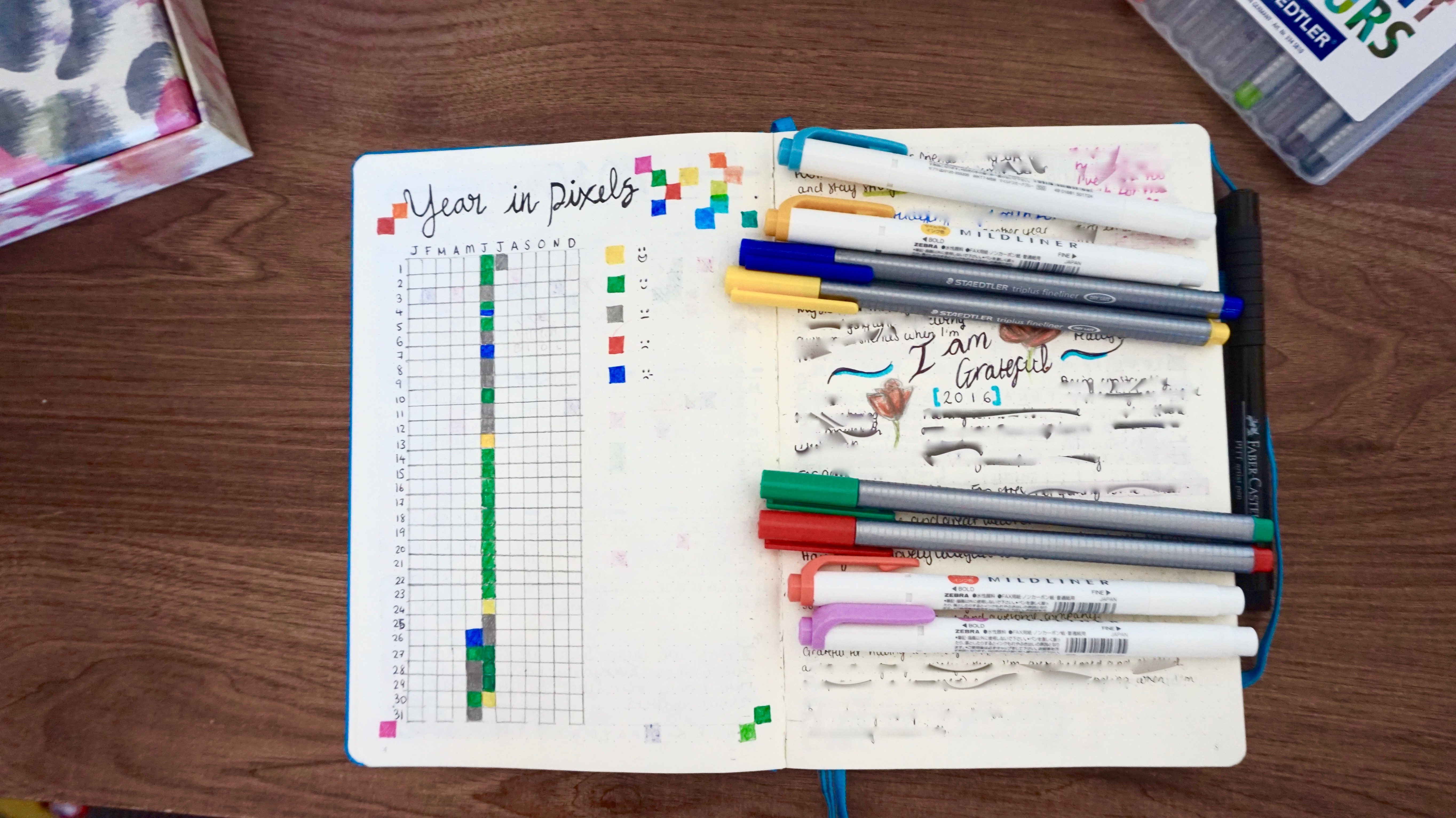 "My ""Year In Pixels"" log and Gratefulness log (that I recently filled up and had to start a new one!) It's blurred because most of it is quite personal."