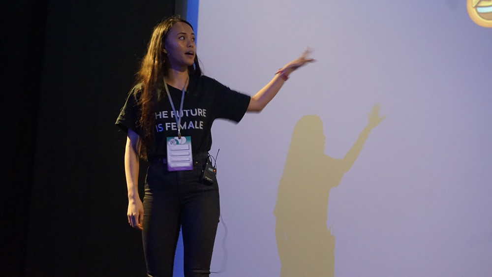 Me speaking at the Inspire Women in Tech Conference in Nottingham