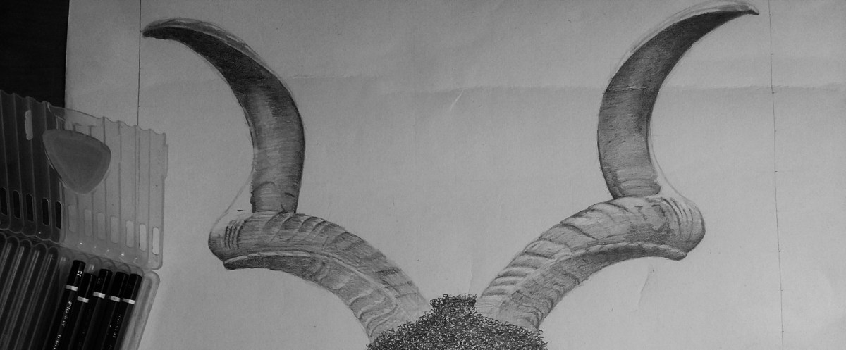 This is an Art work. A sketch of a horn by Dick David