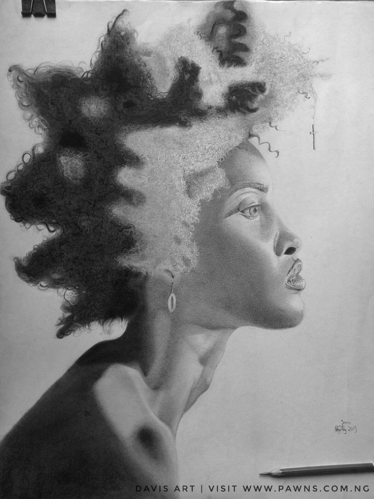 Completed Pencil Art work in the Gallery, side view. Afro nappy hair. Black and white