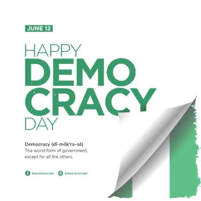Graphic design for Democracy Day - the worse form of government, except for the others