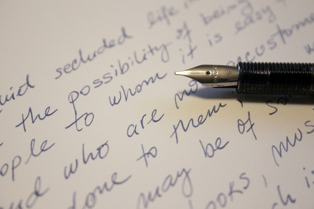 letter, handwriting, ink