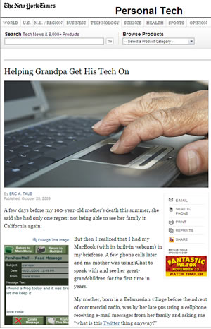 New York Times article on personal technology for seniors