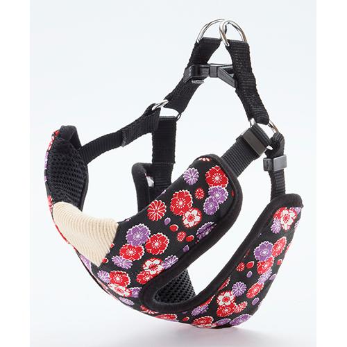 日本 Petio 犬雅胸帶 - 櫻菊花紋 (黑)