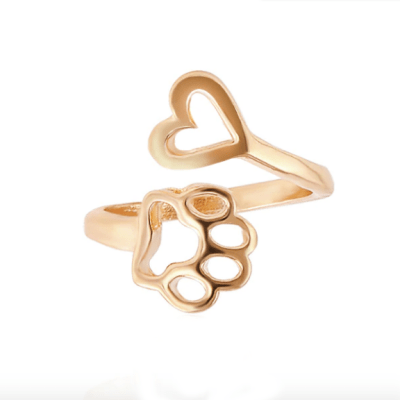 paw on my heart ring in gold