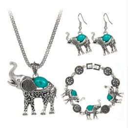 Elephant Necklace Earrings Bracelet