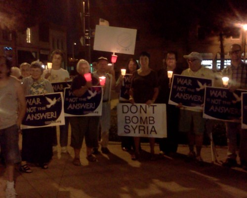 Pax Christi Orange County (CA) participated in a peace rally the Monday after the Pope's call to fast and pray for peace in Syria. Afterward they went to their meeting place and prayed Vespers for Peace with an emphasis on peace in Syria.