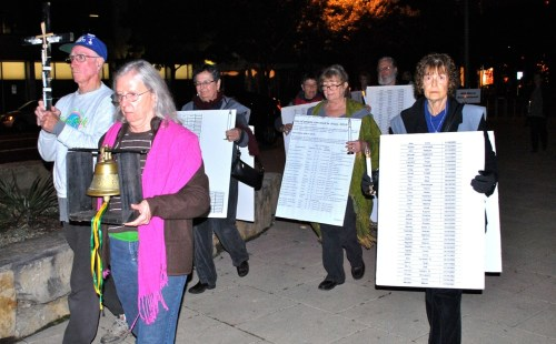 """Pax Christi Austin (TX) members march against the death penalty as part of """"Cities for Life"""" in November. Photo by Bob Kinney"""
