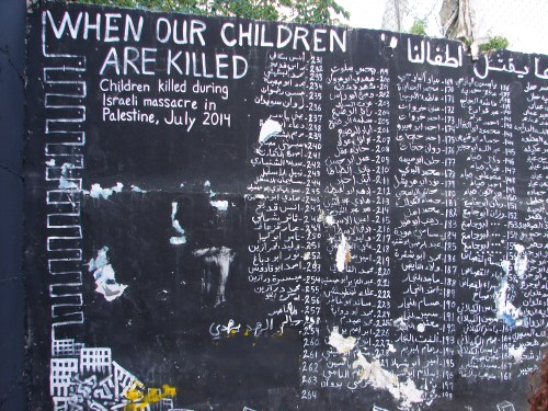 This mural in Aida Refugee Camp in the Occupied West Bank lists children killed in Israeli's Gaza offensive in July 2014.