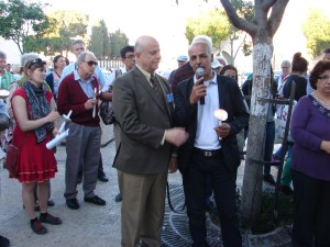 Palestinian man recenty released after 20 years in prison at the Nakba commemoration event.