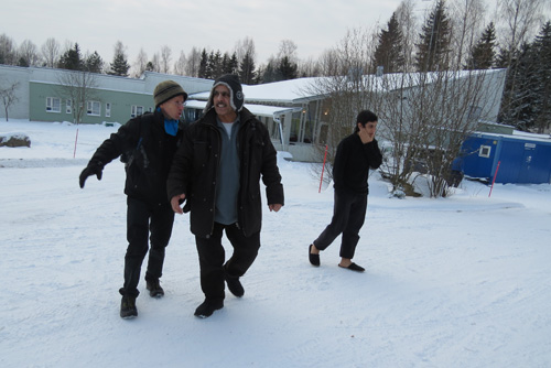 The author, Mohammad and Omar at a Finnish camp for asylum seekers, January 2016. Photo by Dr. Hakim.