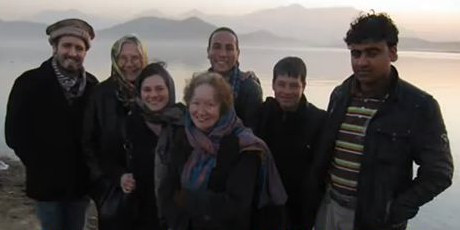 Kathy Kelly with Voices delegation and Afghan Peace Volunteers 2010