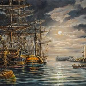 Лунная ночь на Севастопольском рейде