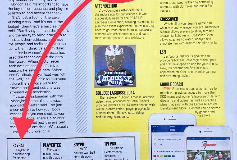 """Payball named a """"Must Have"""" App by US Lacrosse"""