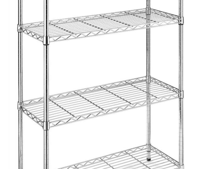 Black Chrome Storage Rack 4 Tier Organizer Kitchen Shelving Steel Wire Shelves