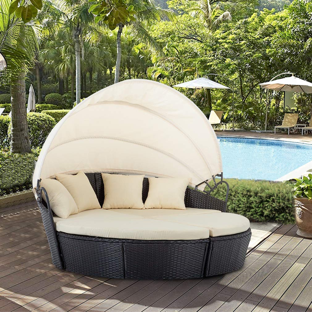 BestMassage Outdoor Patio Round Daybed Furniture Wicker ... on Outdoor Living Wicker  id=29204