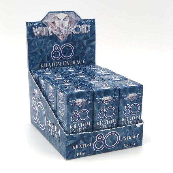 white diamond kratom liquid shot display pack