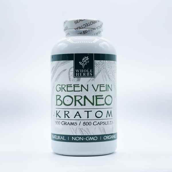 whole herbs green vein borneo kratom capsules