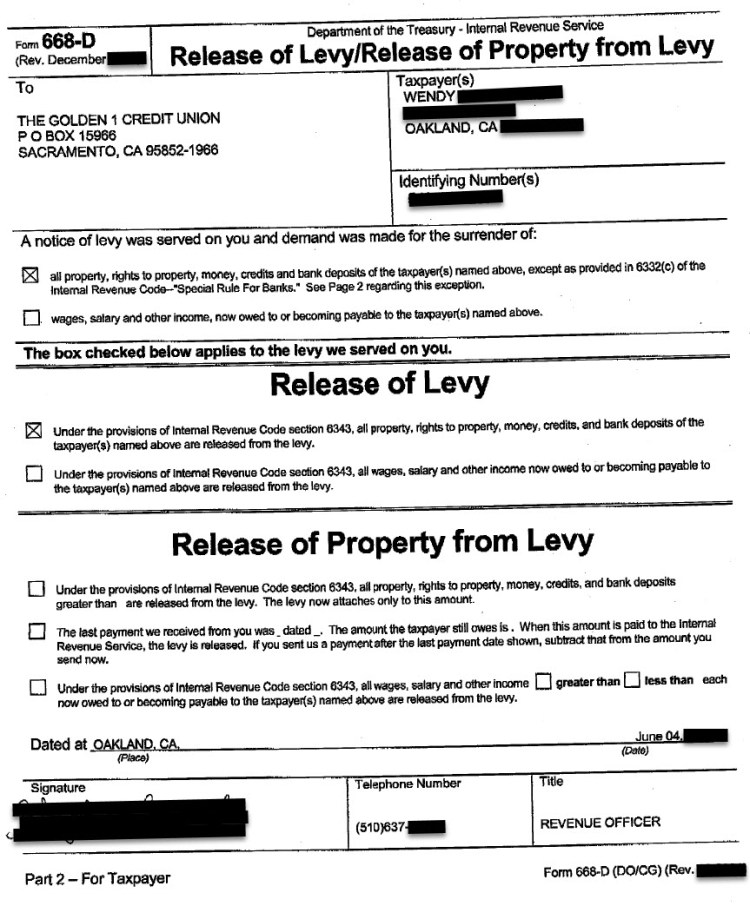 Actual IRS Bank Levy Release Confirmation Letter for Wendy