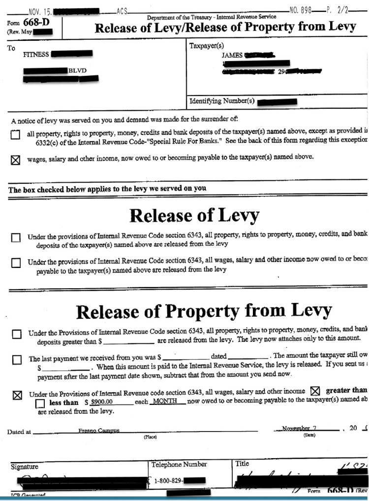 Actual IRS Wage Levy Release Confirmation Letter for James