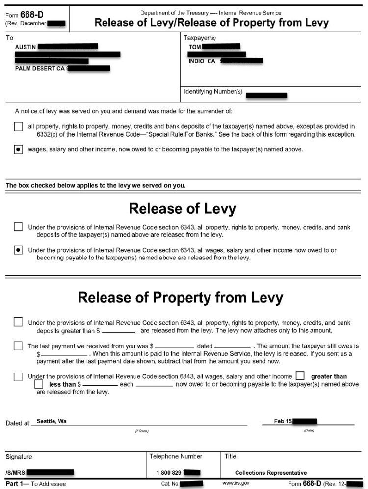 Actual IRS Wage Levy Release Confirmation Letter for Tom