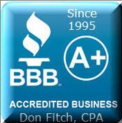 BBB - Better Business Bureau - Don Fitch, CPA has been a proud member of the Better Business Bureau since 1995