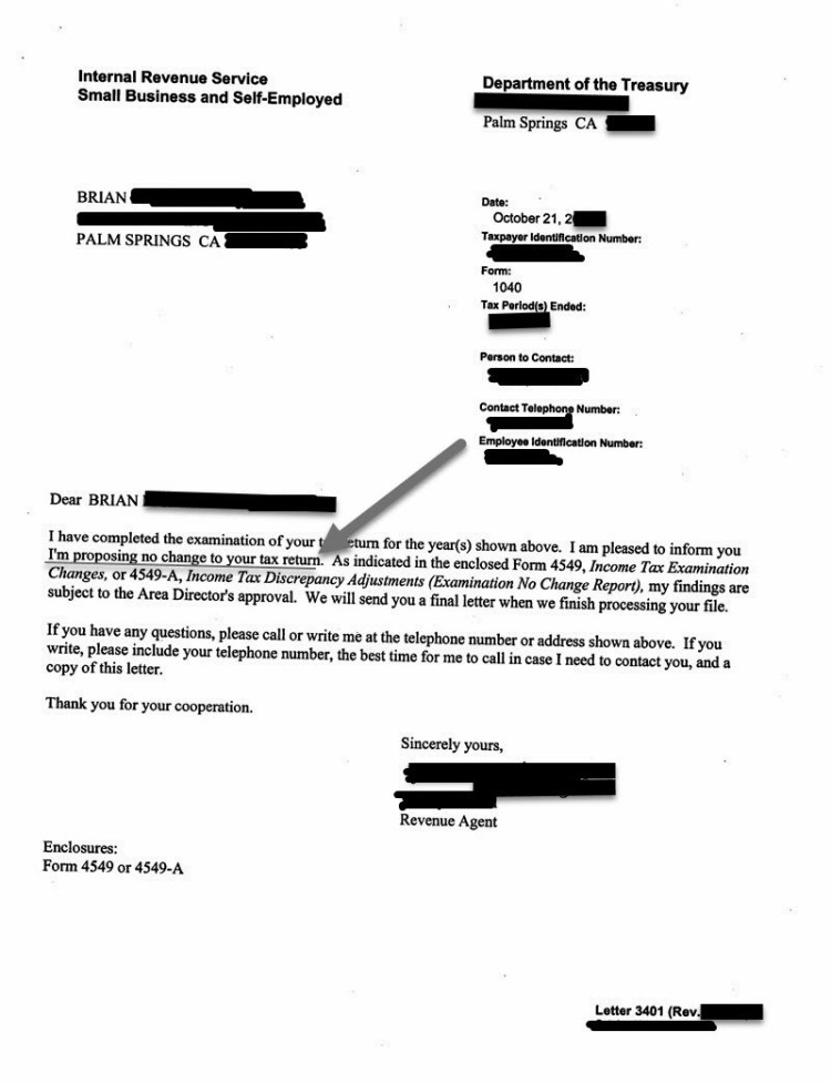 Actual IRS Audit NO Change Letter for Brian