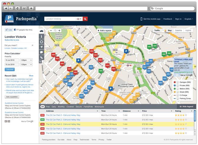 Parkopedia vous indique les places de parkings en détail !