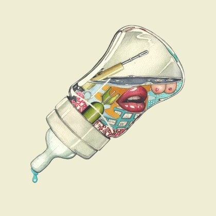 watercolour illustration a feeding bottle full of sex and violence
