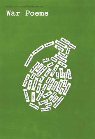The cover of Everyman's Library Pocket Poetry: War Poems, featuring an image of a grenade made out of magnetic poetry kit words