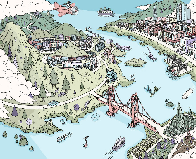Shopping in the Bay Area   Barry Bruner Illustration