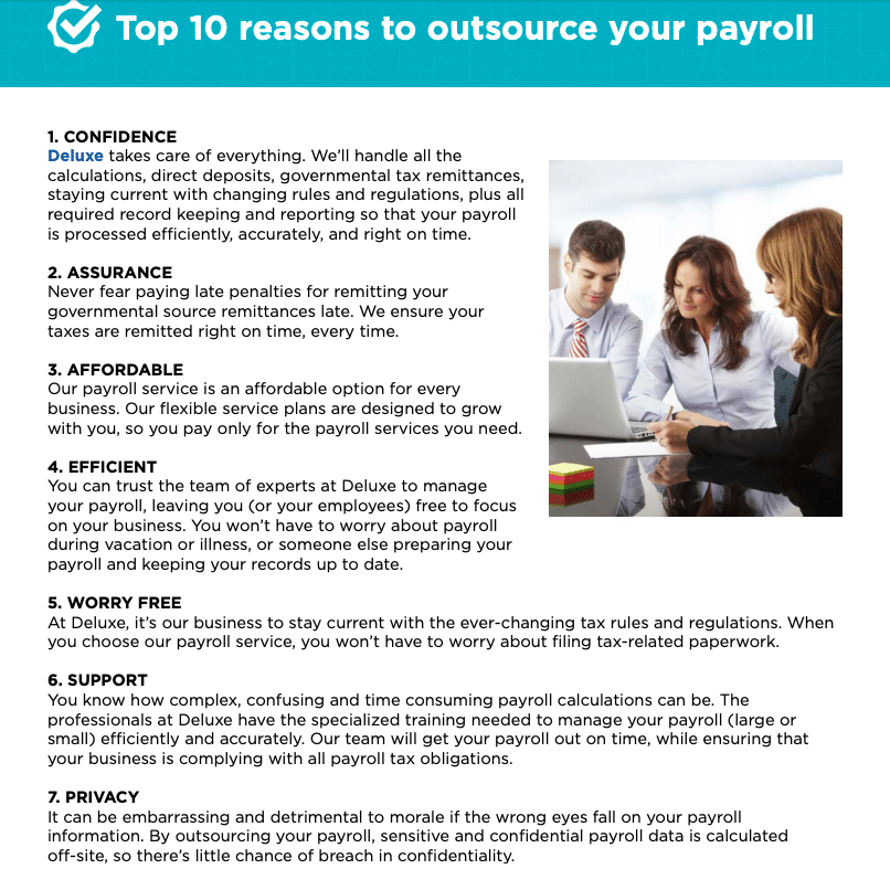 deluxe payroll top 10 reasons to outsource payroll