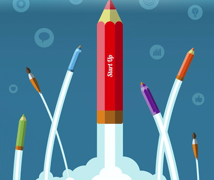 Infographic pencil rockets taking off going up