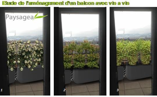 etude de l am nagement d un balcon avec vis a vis fr d ric morisset votre paysagiste conseil. Black Bedroom Furniture Sets. Home Design Ideas