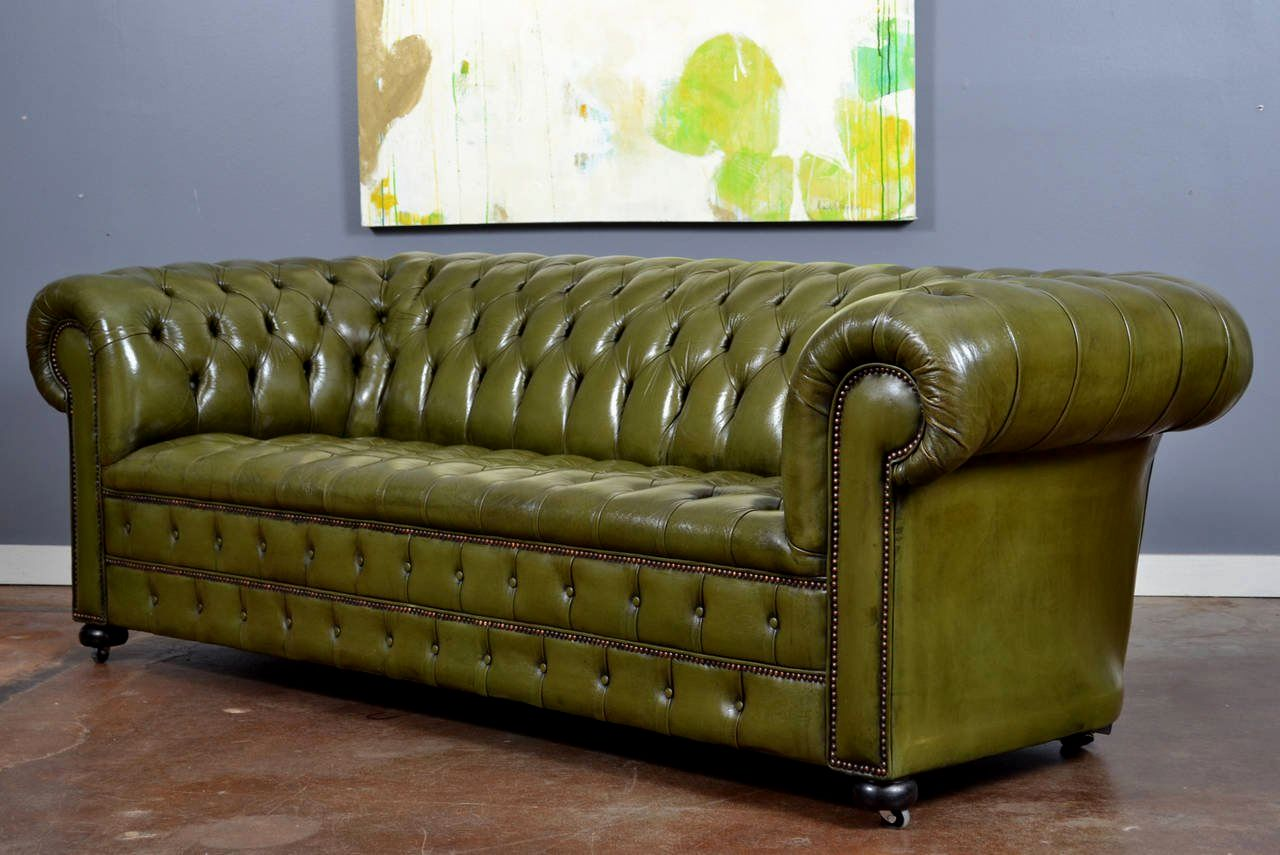 Gallery Of: Finest Green Leather Sofa Picture